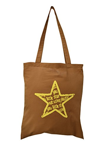 'What a little Star- not using plastic' Brown cotton tote bag