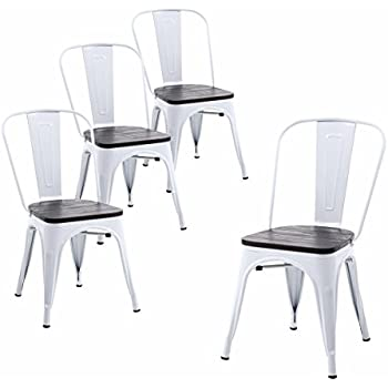 Amazon Com Modway Stack Dining Chair In White Set Of 2