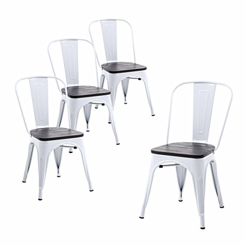 Buschman Set of Four White Wooden Seat Tolix-Style Metal Indoor/Outdoor Stackable Chairs with Back