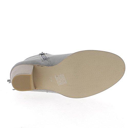 Stiefel cm Dicke Fransen mit 7 Wildlederoptik Ferse Grey ChaussMoi Hn5wPqxSx