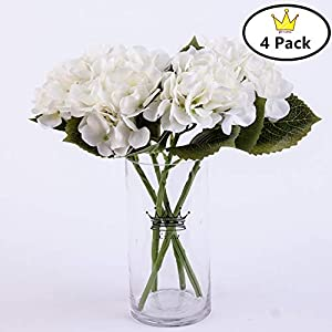 S.Ena, 6 Branch 30 Heads Artificial Silk Fake Flowers Leaf Hydrangea Wedding Floral Home Decor Bouquet Birthday Party DIY, Pack of 4 (White) 64