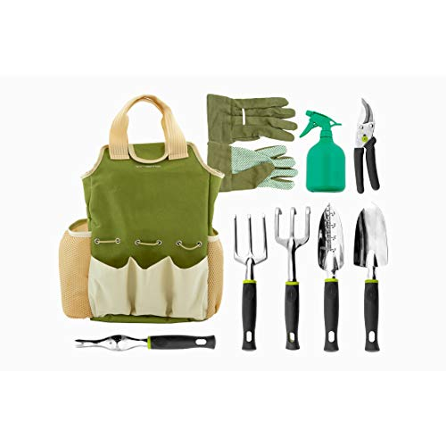 Vremi 9 Piece Garden Tools Set  Gardening Tools with Garden Gloves and Garden Tote  Gardening Gifts Tool Set with Garden Trowel Pruners and More  Vegetable Herb Garden Hand Tools with Storage Tote