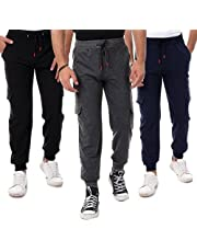 Bundle Of 3 Soft Comfy Cargo Sweatpants - Navy Blue (Elastic Waist With Drawstring Color May