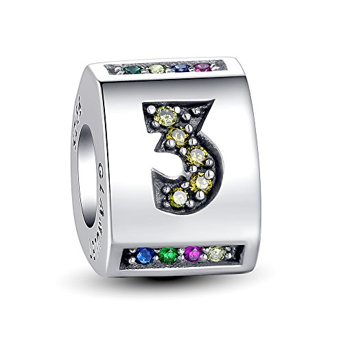 Enamel Ballerina Charm (Glamulet Sports Women's 925 Sterling Silver Triangular Barrel Number 0 - 9 Charm Fits Pandora Charms Bracelet (Number)