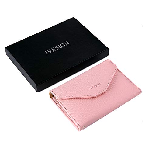 Ivesign Leather Passport Holder Cover Case RFID Blocking Travel Wallet(Pink)