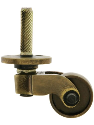 Solid Brass Stem And Plate Caster With Brass Wheel In Antique-By-Hand Finish Antique Brass Casters
