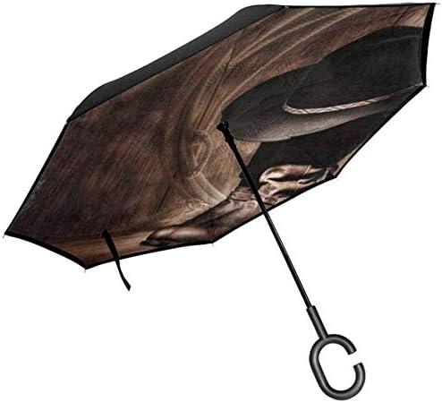 ビンテージアメリカ西部カウボーイハットとブーツ ユニセックス二重層防水ストレート傘車逆折りたたみ傘C形ハンドル付き