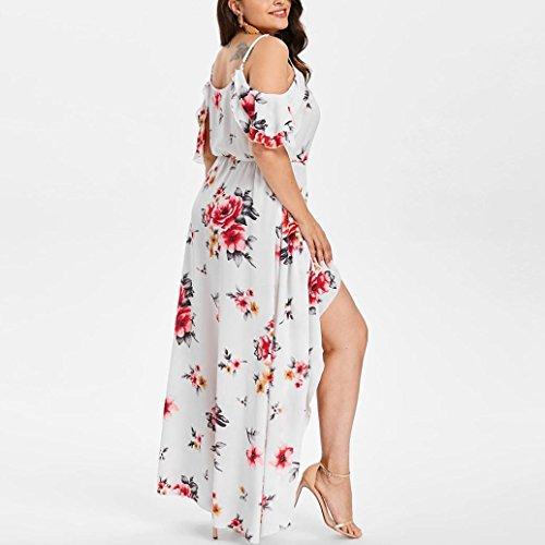 Taille Robe Blanc paule Femme Froide Robe Courtes des Manches Boho Plus la Femmes Occasionnels Longue imprim Fleur HUHU833 vIaqTwFxT