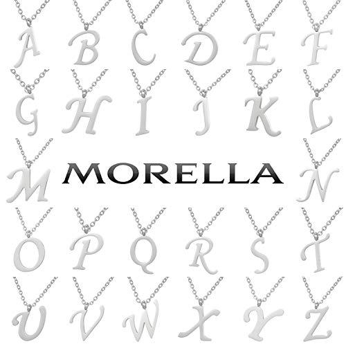 Acero Collar N Y Plata Letras Colgante Morella De Inoxidable Con gIwdd6xq