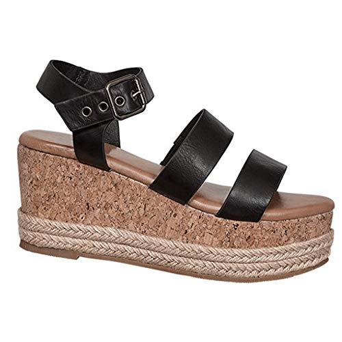 (XLnuln Womens Lace Up Platform Wedge Heel Peep Toe Slingback Sandals Casual Comfortable Sandals)