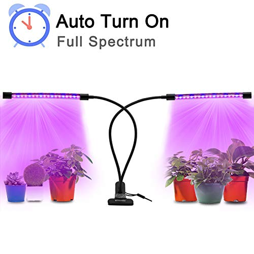 18W Full Spectrum LED Plant Grow Light with Auto Turn On/Off Function, slitinto Adjustable Dual Head Gooseneck Grow Lamp with Red/Blue Spectrum Switching, Professional for Indoor Plants[New Upgrade]