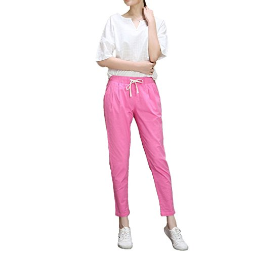 Dehutin Mujer Verano Algodón Pantalones largos ocasionales Ajustado Pantalones de lápiz Rosa rojo