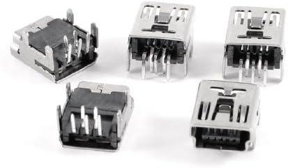 20Pcs Mini USB Type B 5-Pin Female Socket Right Angle DIP Jack Connector new