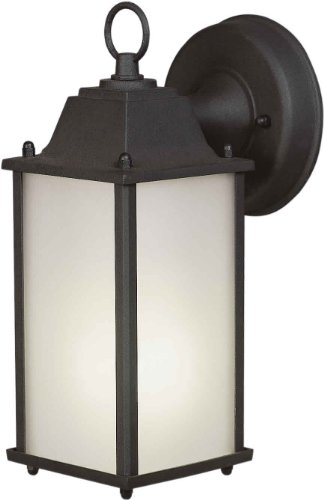Forte Lighting 17003-01-04 Exterior Wall Light with Satin White Glass Shades, Black