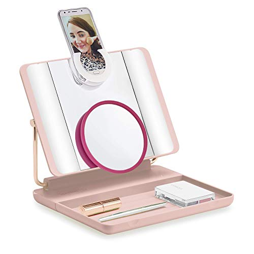 Spotlite HD 2.0. Cordless Ultra-Bright Light Makeup Mirror with 10x Magnification (4 in 1) Vanity Mirror | Handheld Mirror | Wall Mounted Mirror | Travel Mirror, through JUST OWN IT (Blush Crush)