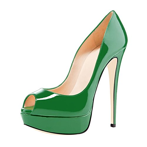 Heel Court Toe Womens On Shoes Peep Stilettos 14cm Pumps Green High Slip Platform Soireelady SIzwqfx