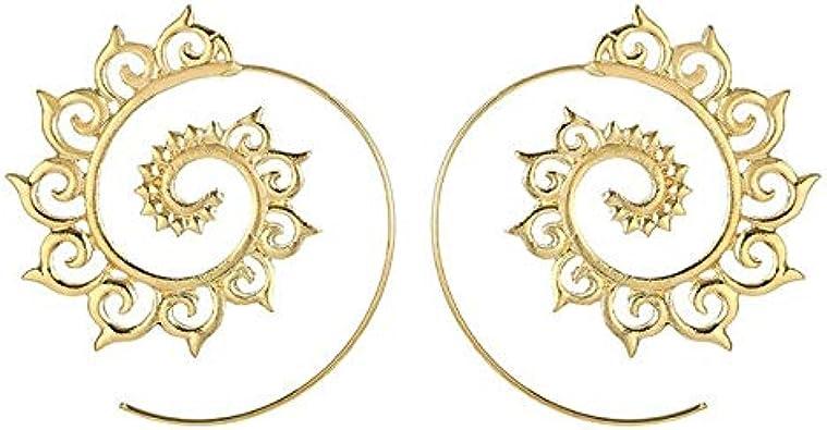 Pendientes de moda con círculos grandes y círculos redondos Pendientes de flores para mujer Pendiente de color plateado dorado Joyería de moda femenina
