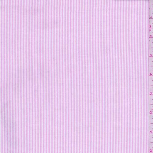 Cotton Shirting Fabric - Pink Stripe Oxford Cotton Shirting, Fabric by The Yard