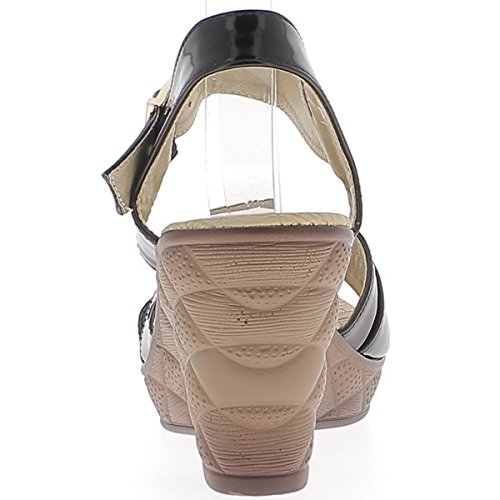 Verniciato Sandali con zeppa tacco 8,5 cm nero donna