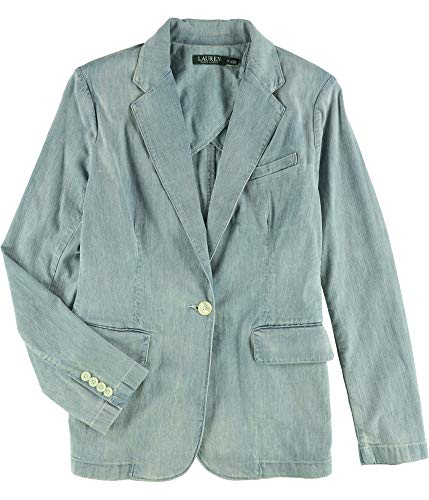 Ralph Lauren Womens Denim One Button Blazer Jacket Blue ()