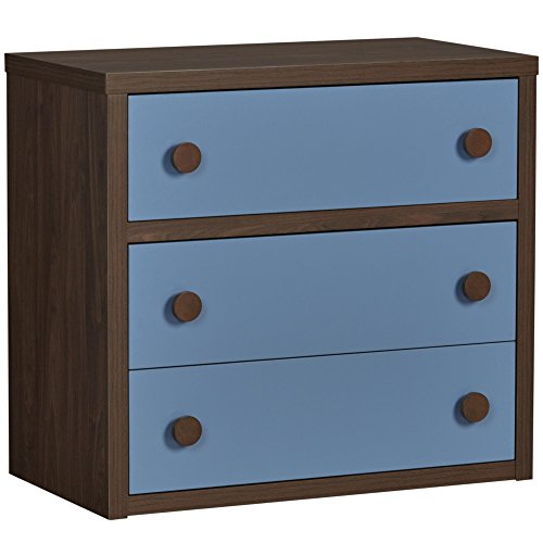 Little Seeds Sierra Ridge Terra 3 Drawer Dresser, Walnut/Blue by Little Seeds