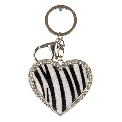 Crown Rhinestone Studded Keychains, Car Keychains, Key Rings, Bag Charm (Various Choices) (Heart-Zebra)