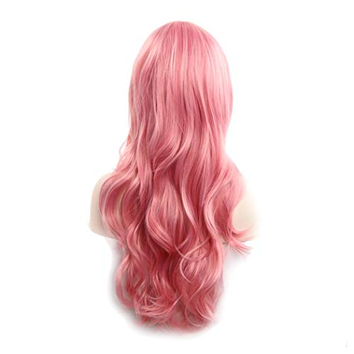 Womens Long Curly Wig, Halloween Cosplay Party Wavy Wig Heat Resistant Synthetic Full Hair Wig (Pink)