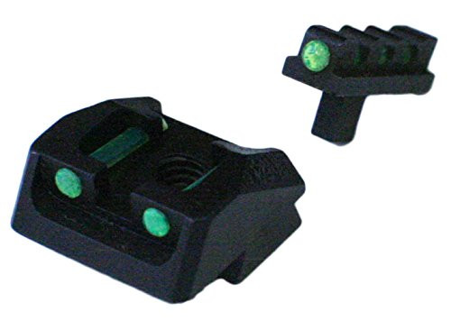 1911 Mil Spec, 70 Series Style Fixed Fiber Optic Sight Set Green Rear, Green Front