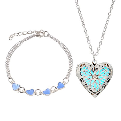 LightOnIt Magical Fairy Glow in the Dark Opening Heart Necklace-aqua-sil and Bracelet Set