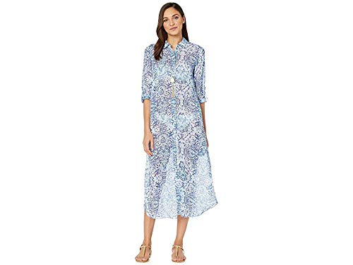 Lilly Pulitzer Women's Natalie Maxi Cover-Up Resort White Call My Shell Phone Engineered Cover-Up Small