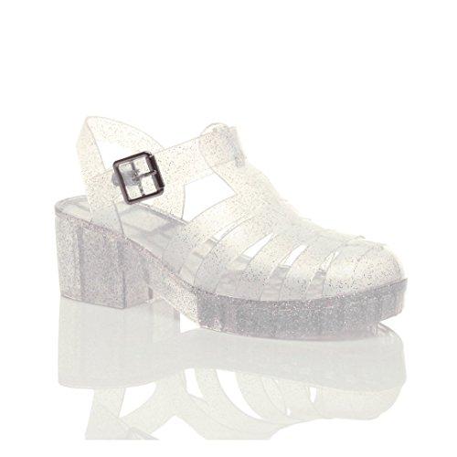 lock Heel Gladiator Buckle Jelly 90'S Retro Sandals Size 8 39 ()