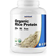 Nutricost Organic Rice Protein Powder 5lbs (Unflavored) - Certified USDA Organic, 20G of Premium Protein Per Serv, Non-GMO