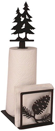Iron Pine Cone Paper Towel/Napkin Holder with Double Pine Tree - Napkin Double Holder