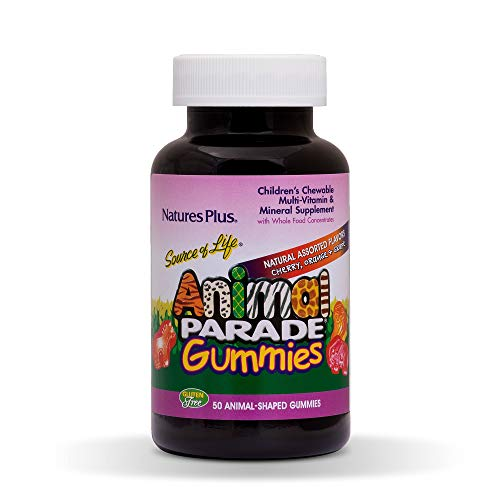 Natures Plus Animal Parade Source of Life Gummies - Natural Cherry, Orange & Grape Flavors - 50 Animal Shaped Gummies - Childrens Multivitamin - Gluten Free - 25 Servings ()