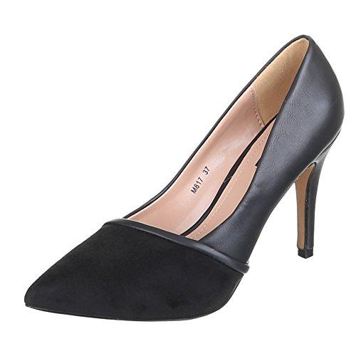 Ital-Design Damen Schuhe, M817, Pumps Schwarz