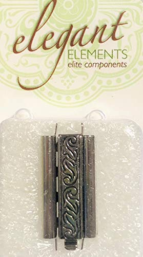(Beadslide Clasp Antique Silver Plated Swirl Design 24mm Long, 10mm Wide-Quality Made in Germany. Quickly Finish Your Beaded Projects so You can Start to Enjoy Them Right Away!)