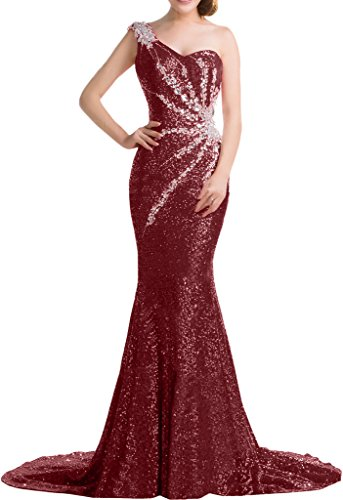 Evening up Dress Sweep Burgundy Elegant One Dress Party Avril Sequins Shoulder Lace wzqfWFI