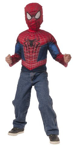 Amazing Spider Man Peter Parker Costume (The Amazing Spider-Man 2 Muscle Chest Shirt and Mask Set with Fiber-Fill Muscles)