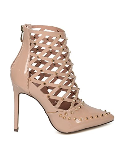 Alrisco Women Studded Pointy Toe Caged Cut Out Stiletto Bootie Pump - HF45 by Love Athena Collection Nude Patent a4p4g8P