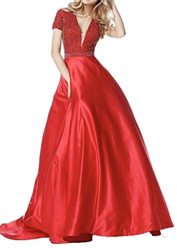 Kleider Neu Rot Kurzarm Abendkleider Jugendweihe Ballkleider Charmant Festlichkleider Lang Damen Brautmutterkleider Promkleider YgxwqnvCa