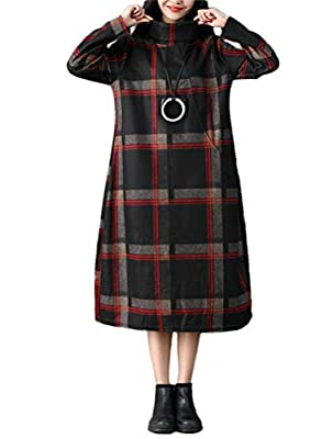 Mordenmiss Women's Large Plaid Shirt Dress Turtleneck Long Sleeve Basic Dress