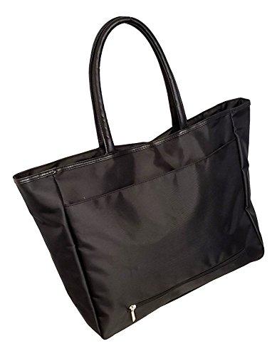 Large Black Organizing Travel Companion Purse Handbag Bag (No Embroidery - Black) ()