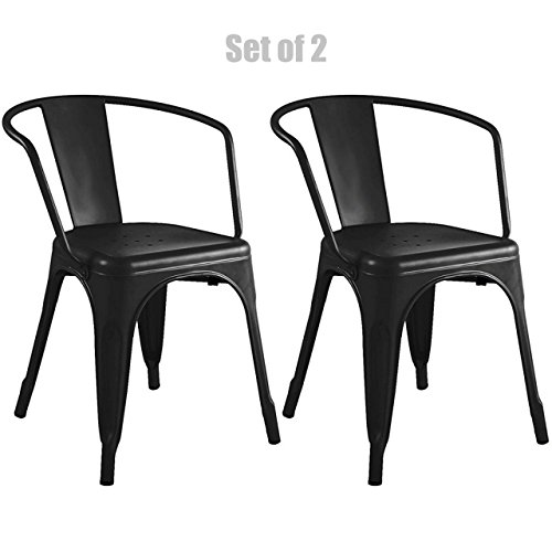 Vintage Style Sturdy Metal Frame Bar Stools School Office Counter Chairs Scratch Resistant - Set of 2 Black #748a (Rattan Outdoor Furniture Perth)