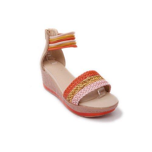 BalaMasa Womens Zipper Assorted Colors Kitten Heels Sandal Shoes apricot