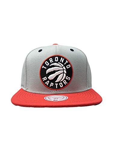Mitchell & Ness Toronto Raptors Adjustable Velcro Back Hat NBA Basketball Straight Brim Baseball Cap (One Size, Grey/Red)