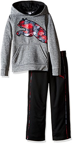 PUMA Little Boys' Toddler 2 Piece Tech Fleece Hoodie Wrapped Cat and Pant Set, Charcoal Heather, - Boys Hoodie Toddler Sweatshirt