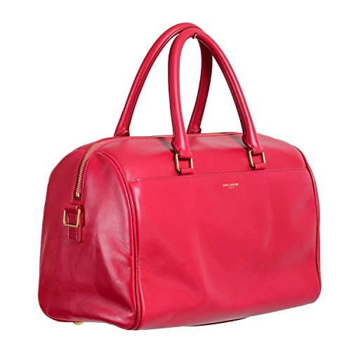 Saint Laurent Women's Fuxia Pink Calfskin Leather Classic Duffle 6 Bag