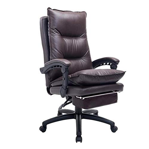 WXF Chairs Office Gaming, Leather Recliner Tilt Napping with Footrest Height Adjustable Swivel Desk Computer Chair (Color : Brown)