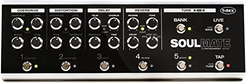 T-Rex Engineering SOULMATE Guitar Multi Effects Pedal with Overdrive, Distortion, Delay, Reverb, Boost, Built-In Tuner and Integrated Switching System; (10) Available Presets (10093)