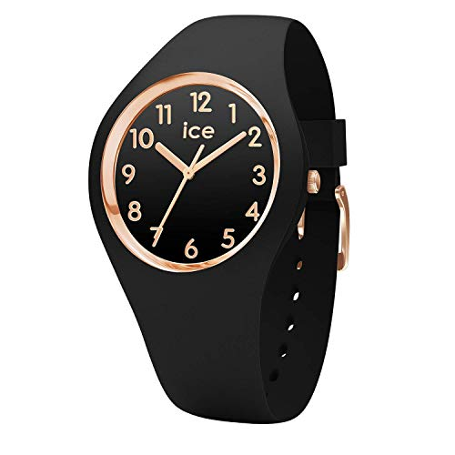ICE WATCH Ice Glam Black Rose-Gold Numbers, Reloj Negro para Mujer con Correa de Silicona